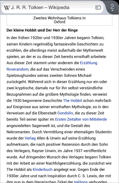 Ein Wikipedia-Artikel in Firefox 16 für Android