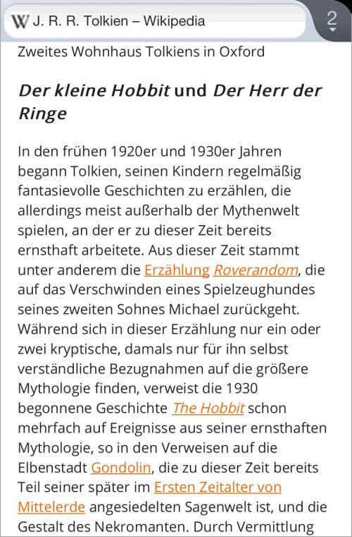 Der gleiche Wikipedia-Artikel im Lesemodus von Firefox 16 für Android