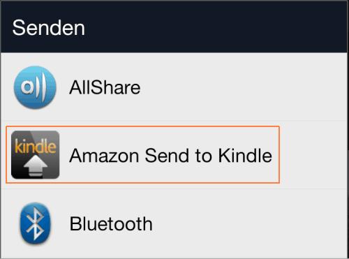 Senden an Kindle für Android