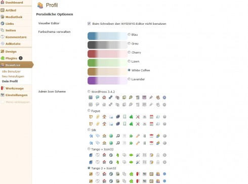 WordPress: BAW Better Admin Color Themes