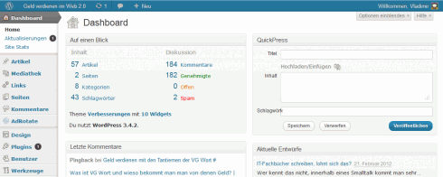 WordPress: Blue Admin Bar