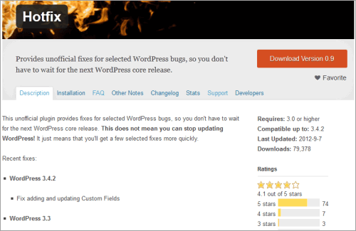 WordPress-Hotfix