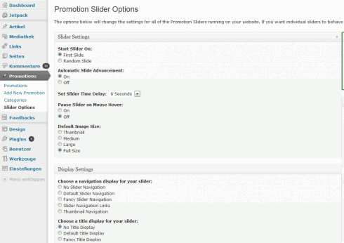 WordPress: Optionen von Promotion Slider