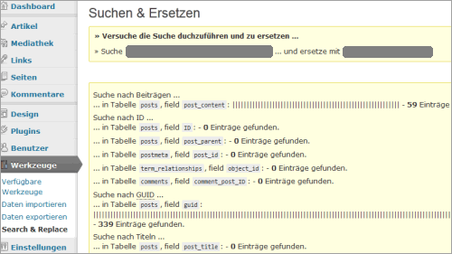 WordPress: Search and Replace im Einsatz