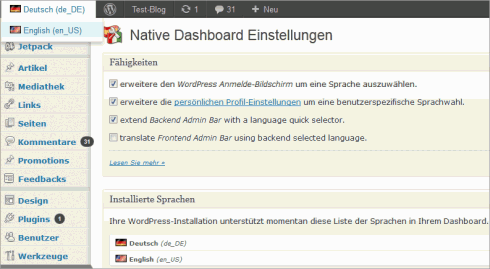 WordPress: Sprachswitch für den Admin-Bereich
