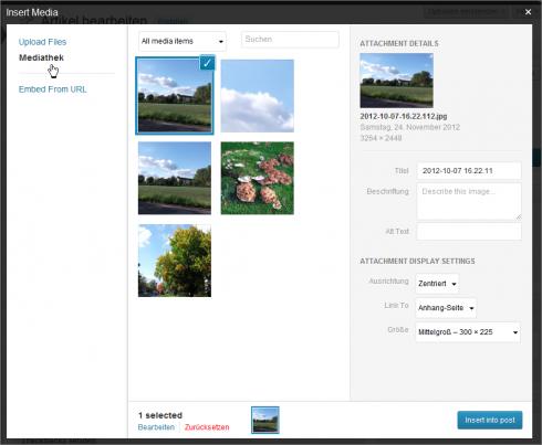 WordPres 3.5: Bild ist hoch geladen