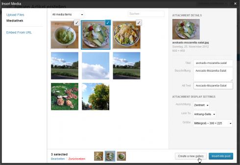 WordPress 3.5: Selektierte Bilder in eine Galerie einfügen