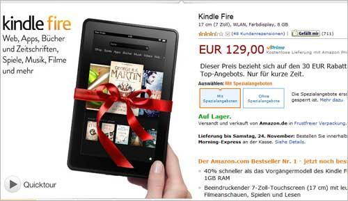 Gesenkter Preis für Kindle Fire