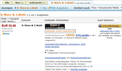 Amazon.de: Kindle Touch B-Ware