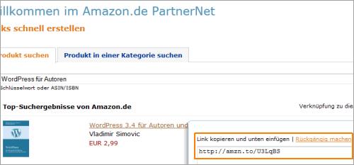 Amazon Partnerlinks mit offiziellen Tools kürzen