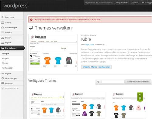 Supr.com-Backend: Themes auswählen