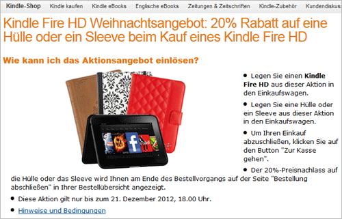 Amazon: 20% Rabatt auf Hüllen und Sleeves beim Kauf von Kindle Fire HD