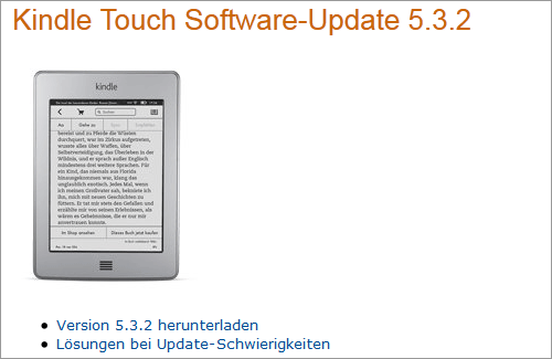 Amazon: Firmware-Update für Kindle Touch