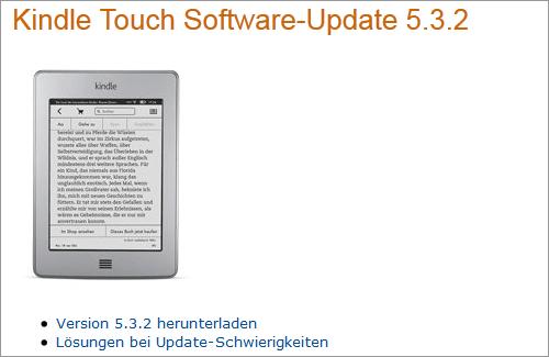 Amazon: Firmware-Update für Kindle Touch