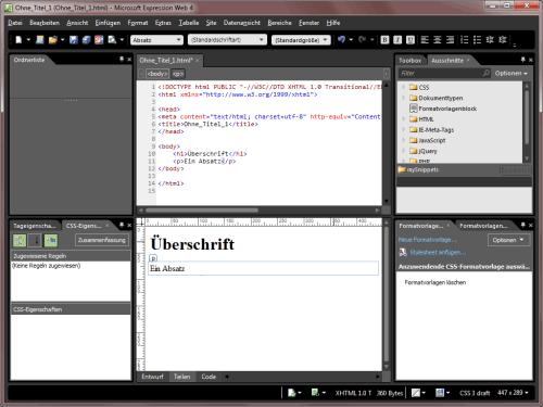 Microsoft Expression Web im Einsatz