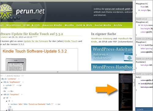 "Die ""Code-Karte"" in Mozilla Firefox 18"