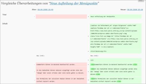 Vergleich von unterschiedlichen Versionen eines Beitrags in WordPress 3.5