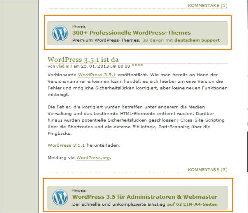 Anzeigen nach dem ersten, zweiten und den dritten Artikel in der Übersicht von WordPress