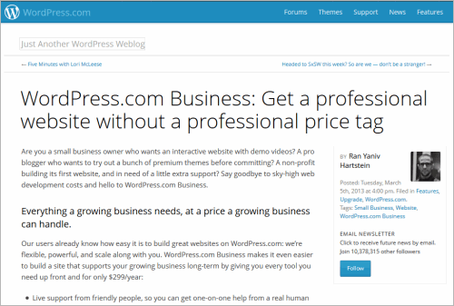 WordPress.com mit einem Business-Tarif