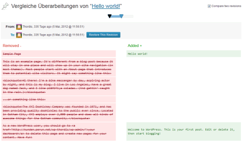 WordPress 3.6: Artikelüberarbeitung (Revisionen)