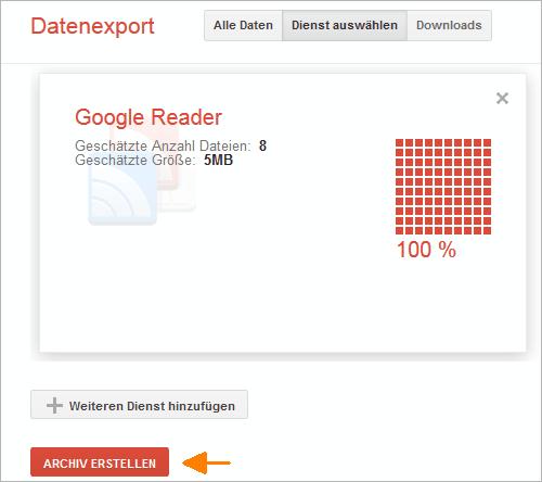 Google Reader: Archiv erstellen