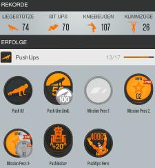 Abbildung aus der Runtastic-App für Liegestütze