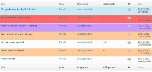 WordPress: farbige Artikel-Übersicht