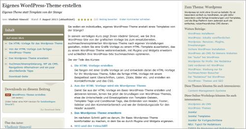 Kostenloser Kurs: Einstieg in Entwicklung von WordPress-Themes