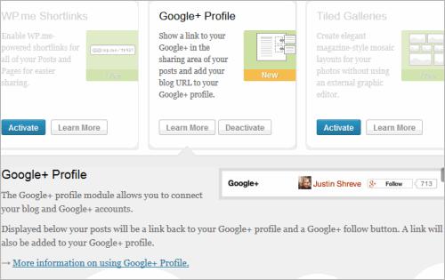 Jetpack 2.5 für WordPress: Anbindung zu Google+