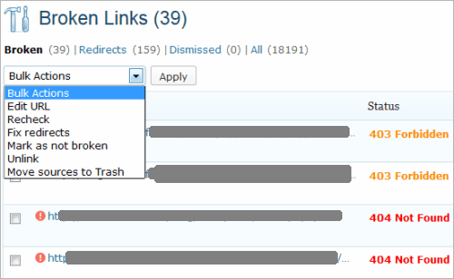 WordPress: Broken Link Checker (2)