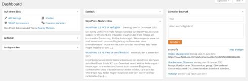 Übersichtliches Dashboard mit deutlich weniger Modulen in WordPress 3.8