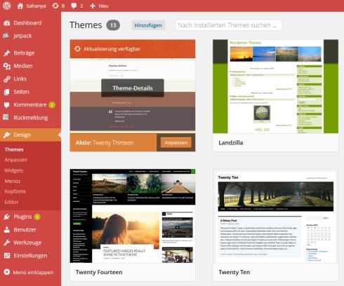 Neu gestaltete Themes-Übersicht in WordPress 3.8