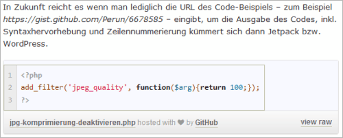 Jetpack 2.9: Gists in WordPress einbetten