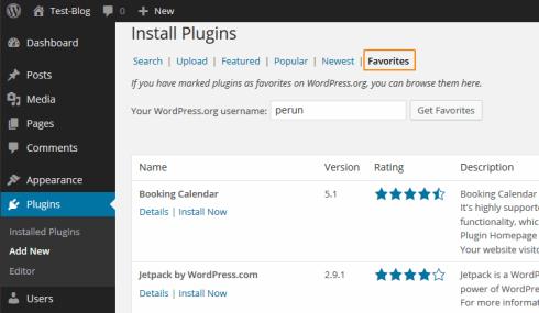 Favoriten-Plugins via Backend installieren