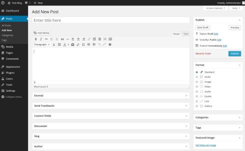 Backend von WordPress 3.8 bzw. 3.9 Beta1