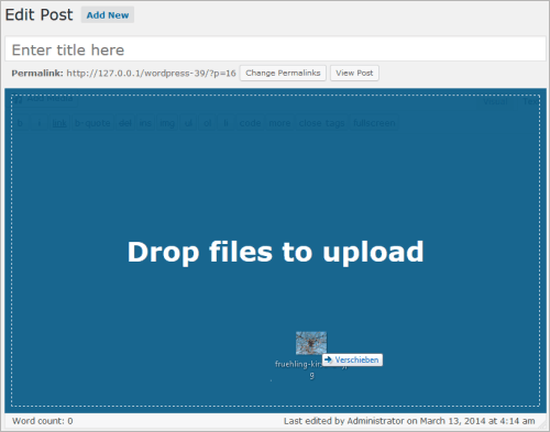 WordPress 3.9: Upload über Editor
