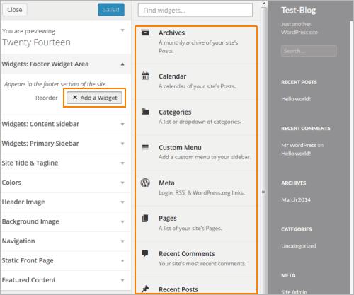 WordPress 3.9: Widget-Verwaltung in der Live-Ansicht eines Themes
