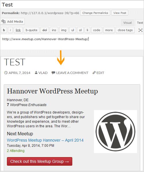WordPress 3.9: Einbettung von Meetups