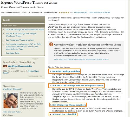Eigene WordPress-Themes erstellen: kostenlose Unterlagen