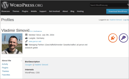 Profil von Vladimir SImovic auf WordPress.org