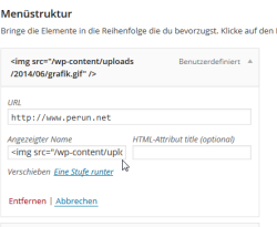 Grafik im WordPress-Menü