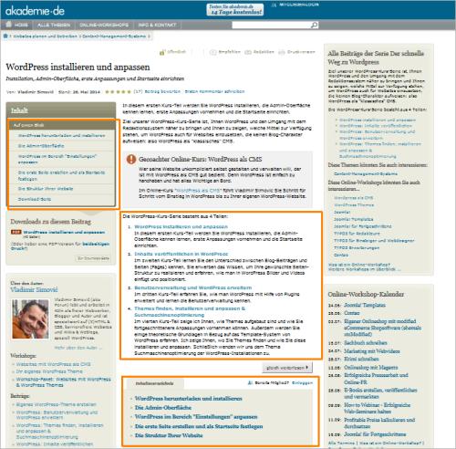 Wie man an die kostenlosen Unterlagen von WordPress als CMS rankommt