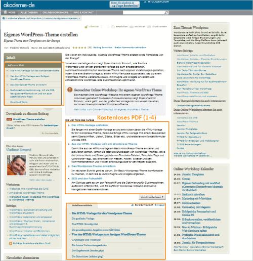 Kostenlose Unterlagen für den WordPress-Themes-Kurs