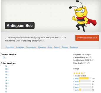 Andere (alte) Versionen des WordPress-Plugins Antispam Bee