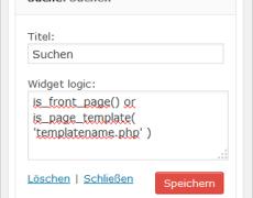 WordPress: Widget-Ausgabe mit Widget Logic steuern