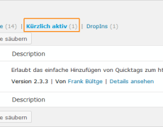 "WordPress: ""kürzlich aktive"" Plugins"