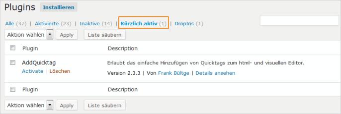 WordPress: kürzlich aktiver Plugin