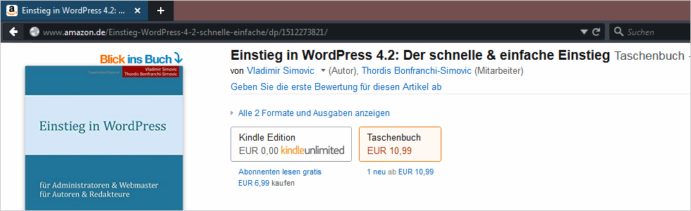 Einstieg in WordPress 4.2 als gedrucktes Buch