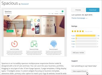 Link zum Support-Forum eines Freien WordPress-Themes