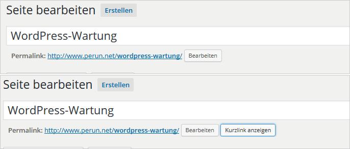 WordPress 4.4: ohne und mit Kurzlink-Funktion